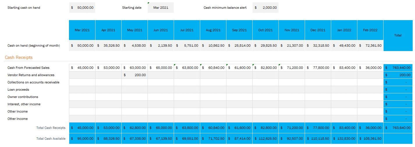Starting Cash & Revenue